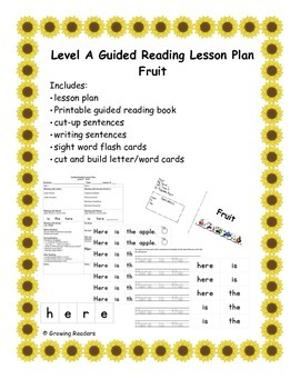 Guided Reading Level A Complete Lesson and book Fruit FREE