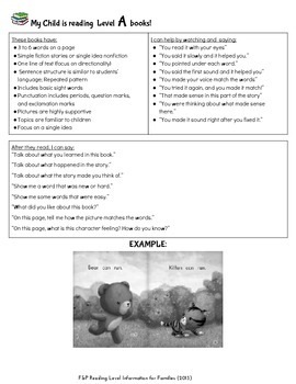 Guided Reading Level Info for Families