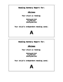 Guided Reading Level Report for Parents