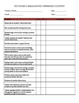 Guided Reading Observation Sheet