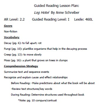 """Guided Reading Plan for """"Log Hotel"""" by Anne Schreiber"""