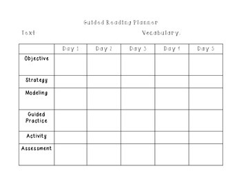 Guided Reading Planner