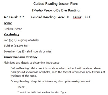 """Guided Reading Plans for """"Whales Passing"""" by Eve Bunting"""