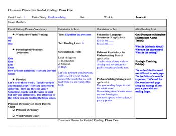 Guided Reading Plus Planner for Mondo El primer dia de cla