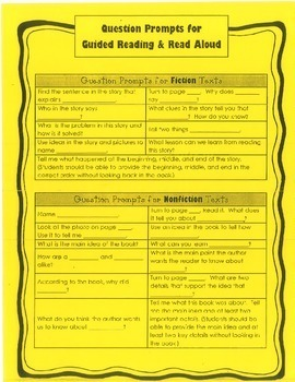 Guided Reading Prompts and Questions