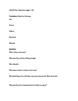 Guided Reading Questions for Gary Soto's The Afterlife: (10 days)