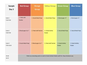 Guided Reading Schedule for Student Rotations