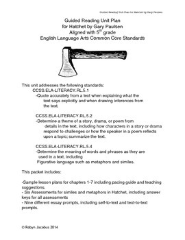5th/6th Grade ELA- Unit Plan with Assessments for Hatchet