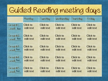 Guided Reading meeting days