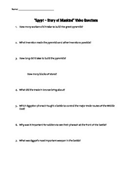 """Guided Video Questions for """"Story of Mankind - Egypt"""""""