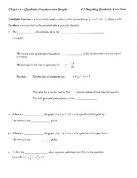 Guided notes introduction quadratic functions review parab