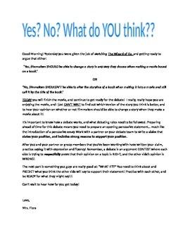 Guidelines for 4th grade Debate