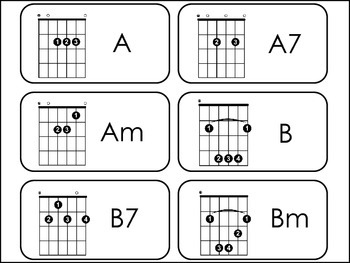 Guitar Chords Picture Word Flash Cards.