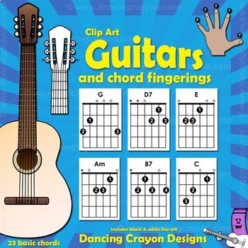 Guitar Chords: Clip Art Guitar Fingerings and Guitars