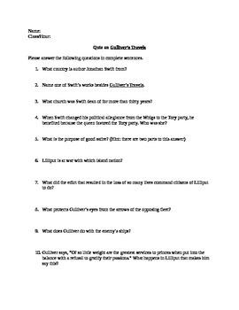 Gulliver's Travels Anthology Quiz