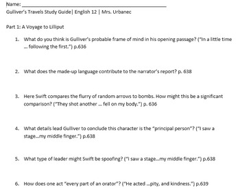 Gulliver's Travels Study Guide and KEY (Abridged Textbook