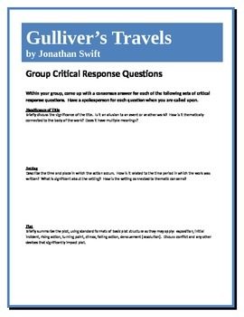Gulliver's Travels - Swift - Group Critical Response Questions