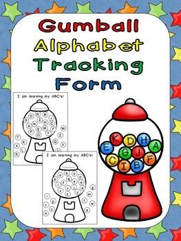 FREE Gumball Alphabet Tracking Form- Kindergarten Assessme