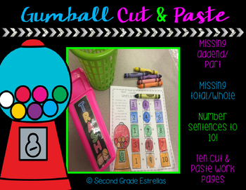 Gumball Cut & Paste: Missing part or whole to 10