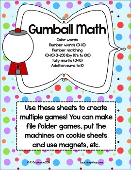 Gumball Math: numbers, colors, tally marks, addition