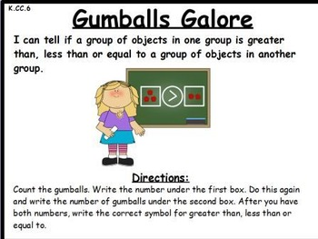 Gumballs Galore- Greater Than, Less Than or Equal: An Acti