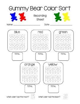 Gummy Bear Color Sort Recording Sheet