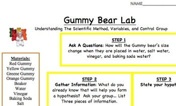 Gummy Bear Lab for Middle School
