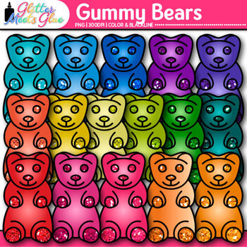 Gummy Bear Clip Art {Rainbow Glitter Candy for Math Centers}