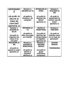 Gustar verb chain game (speaking practice)