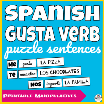 Spanish: Verbs like gustar puzzle sentences (hands-on activity)