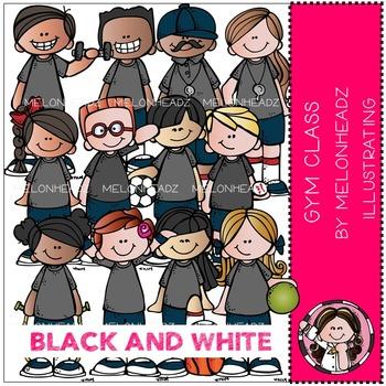 Melonheadz: Gym Class clip art - BLACK AND WHITE