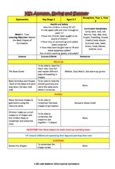 Gymnastics Lesson 1 for KS1 and KS2 Bundle