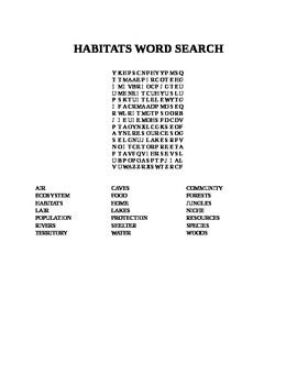 HABITATS WORD SEARCH