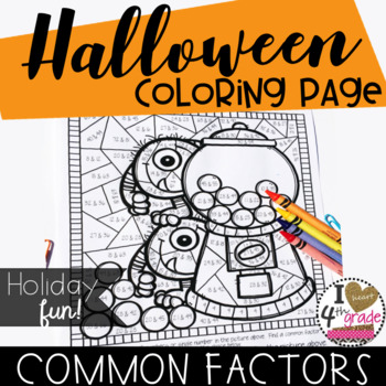 HALLOWEEN COLORING PAGE  CCSS 4.OA.4 Factor Pairs