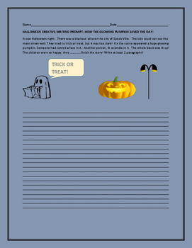 HALLOWEEN CREATIVE WRITING PROMPT: HOW THE PUMPKIN SAVED THE DAY!