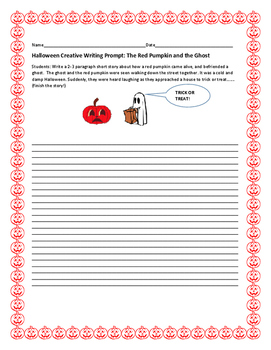 HALLOWEEN CREATIVE WRITING PROMPT: THE RED PUMPKIN & THE GHOST