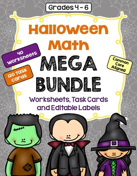 Halloween Math Mega Bundle (Worksheets, Task Cards, and Ed