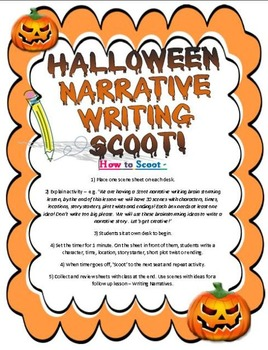 HALLOWEEN Narrative Story Writing Scoot /Prompt Cards (Gr2-6)