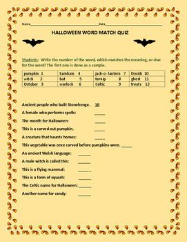 HALLOWEEN WORD MATCH QUIZ- GRADES 4-7, A VOCABULARY FUN ACTIVITY