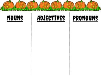 HALLOWEEN themed Parts of Speech practice!