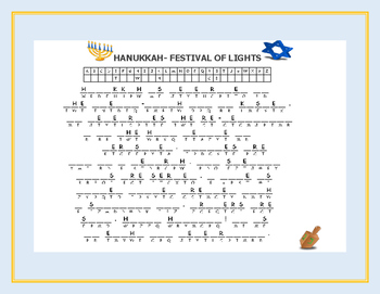 HANUKKAH FESTIVAL OF LIGHTS CRYPTOGRAM: A CELEBRATION ACTIVITY