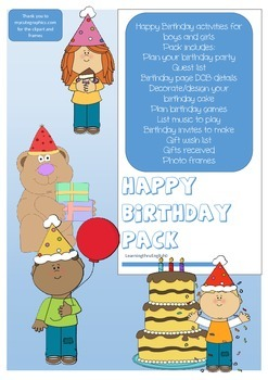 HAPPY BIRTHDAY ACTIVITY PACK - PARTY PLANNING INCLUDED