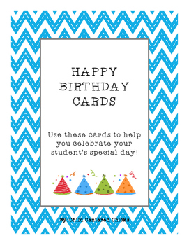 HAPPY BIRTHDAY CARDS WITH BLUE CHEVRON BACKGROUND PAPER AN