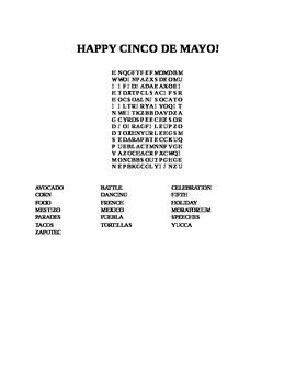 HAPPY CINCO DE MAYO WORD SEARCH