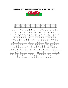 HAPPY SAINT DAVID'S DAY- MARCH 1- A CRYPTOGRAM