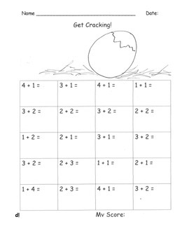 EGG  HATCHING CHICK Addition and Subtraction Fluency Pract