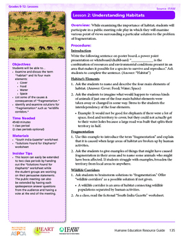 HEART Humane Education: Understanding Habitats (Lesson 2,