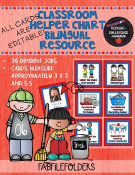 HELPER CHART FOR DUAL LANGUAGE CLASSROOMS