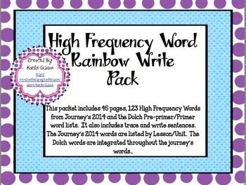 HFW Rainbow Write Pack- Journey's 2014 - Dolch Pre-Primer/Primer