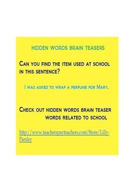 HIDDEN WORDS BRAIN TEASERS